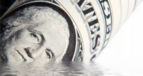 dollar bill sinking in water